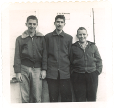 Standing in front of the pumping station near the Westwood Water Tower: Bill Powers, George Dolan, and Jack Sciutti.