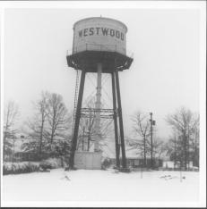 The very iconic Westwood Water Tank….disassembled in 1953, as the WTVR – 6 Tower began to rise.